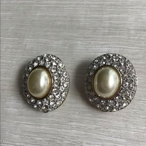Jewelry - Rhinestone and Pearl Clip Earrings